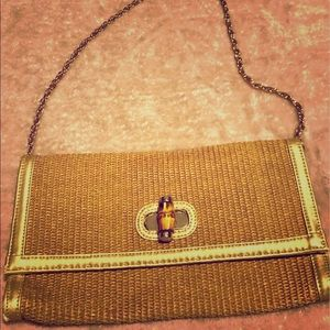 Talbots getaway purse! Woven clutch w/wooden clasp